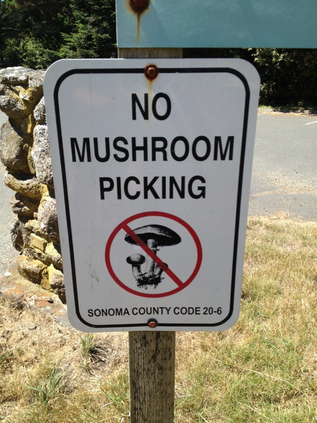 No mushroom picking -- Sonoma County