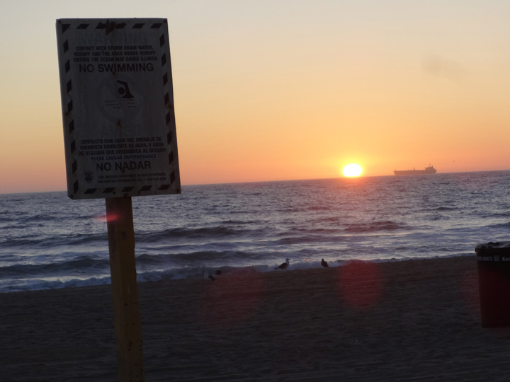 no-swim-zone-manhattan-beach-sunset-sign