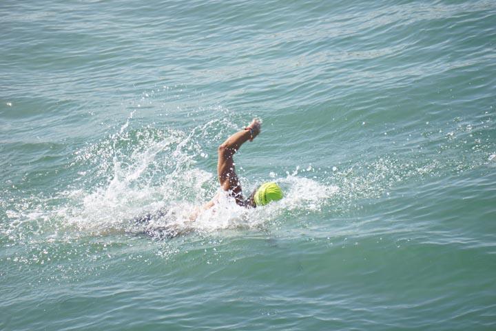 ocean swimmer near Hermosa pier first day of summer
