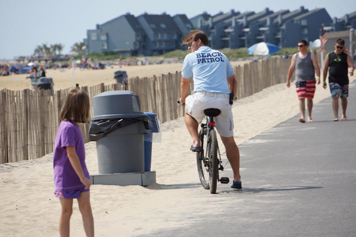 Beach patrol on bicycle Manasquan, N.J.