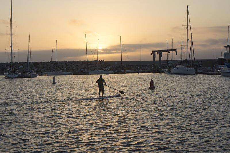king-harbor-paddle-boarder-near-sunset