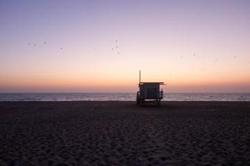birds-post-sunset-hermosa-lifeguard-stand